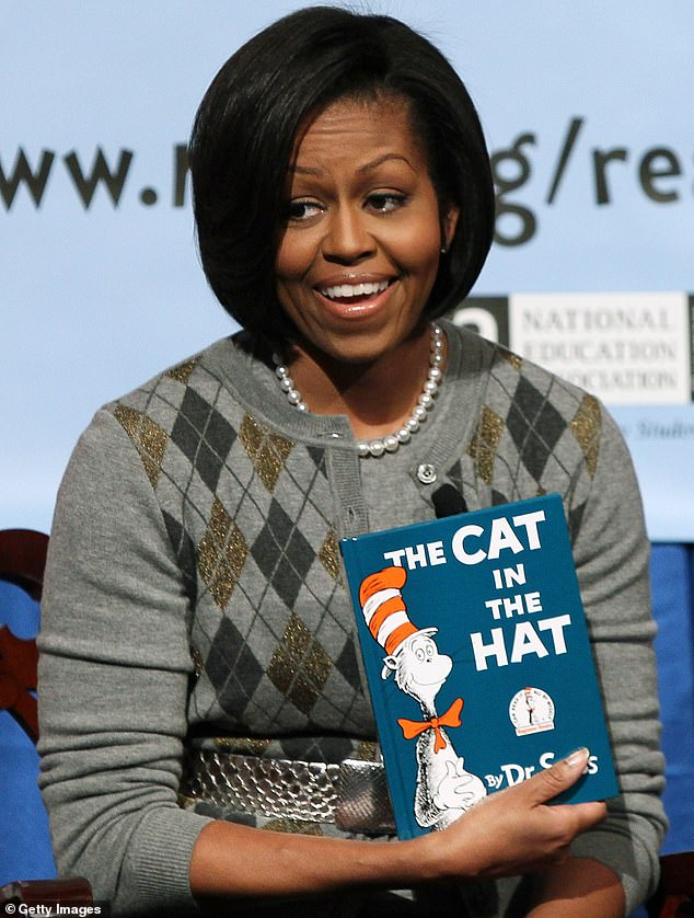 Favorites: Michelle often read The Cat in the Hat and Green Eggs and Ham, neither of which have been banned, and she was trolled by Trump supporters in 2017 for choosing 'racist' books