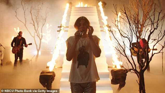 Epic: For The Tonight Show, Laroi performed in a wild forest setting that burst into flames halfway