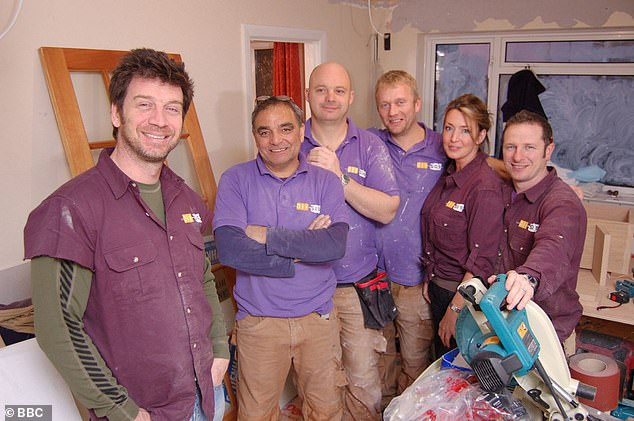 Unsure: The future of the hugely popular show appeared to be uncertain after Nick revealed he would be appearing in the upcoming Your Life On Your Lawn and Home Improvements programs (Nick pictured with the DIY SOS team in 2008)