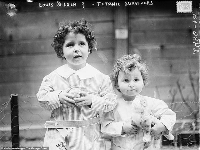 This picture shows two French boys -Michel, four, and Edmond Navratil, two - after they had survived the Titanic sinking in 1912. They became known as the 'Titanic Orphans' after it emerged that their father was on board and had died in the disaster. This image was captured before their true identities had been determined and before their father had been identified. It later emerged that he had fled with the boys having lost custody of them to his wife and had decided to emigrate to the US. He used the false name Louis Hoffman to board the Titanic in Southampton and gave his boys the nicknames Lolo and Mamon