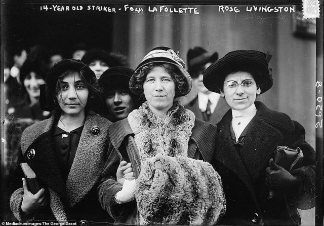 Another image of the suffragettes was included among the Bain News Service photographs. This one, taken in new York City in 1913 shows Flora Dodge 'Fola' La Follette (middle) and social reformer Rose Livington (right) stood with two younger suffragettes. The image was captured during a garment strike in the city