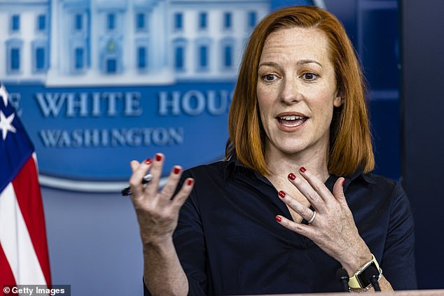 In response to the growing pressure for Biden to appear before reporters, the White House on Friday announced that the president would hold a news conference by the end of the month. White House Press Secretary Jen Psaki (seen above at the White House on Thursday) is pictured