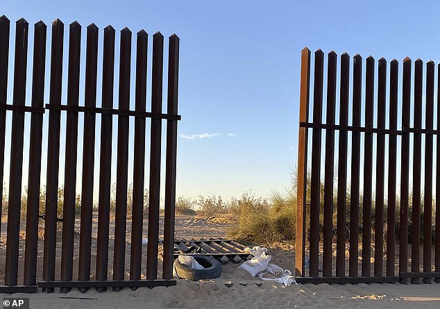 The SUV had slipped through this gap in the border fence on Tuesday morning