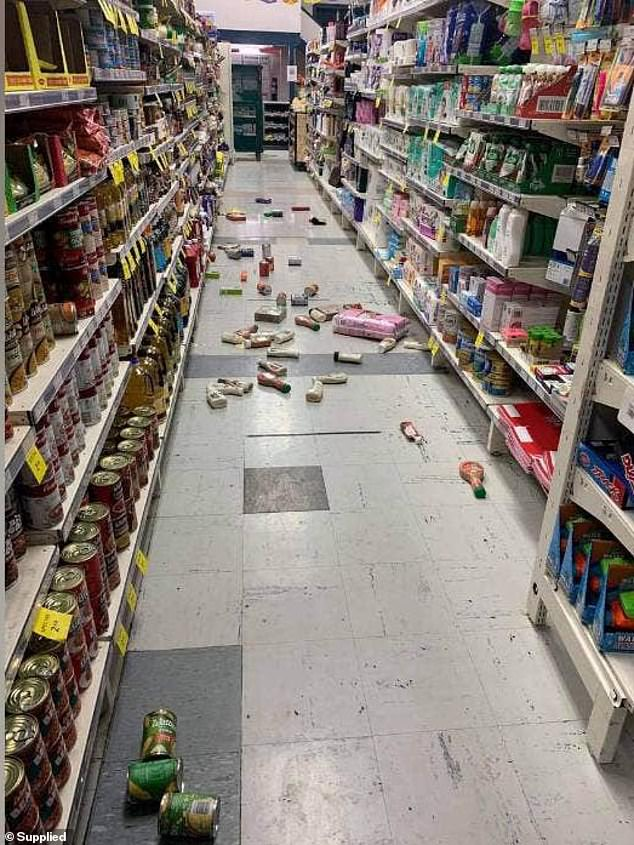A Tokomaru Bay shop owner, on the North Island, shares a photo of groceries lying on the floor after they were flung from the shelves following three earthquakes on Friday