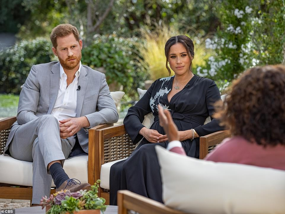 It comes ahead of Meghan and Harry's bombshell tell-all interview with Oprah Winfrey (pictured) to be aired in the UK on Monday night - which ITV have insisted will go ahead despite Prince Philip recovering from heart surgery