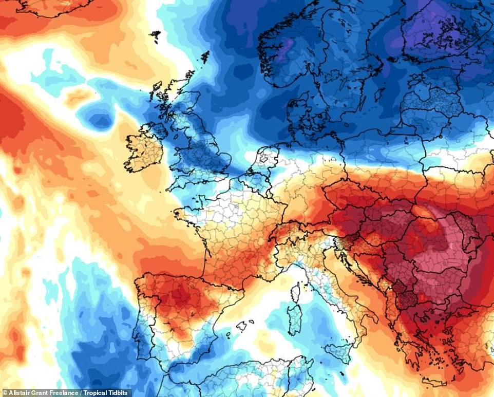 Pictured: the 500 mile-wide 'Scandinavian surge' will see temperatures colder than Iceland across Britain this weekend