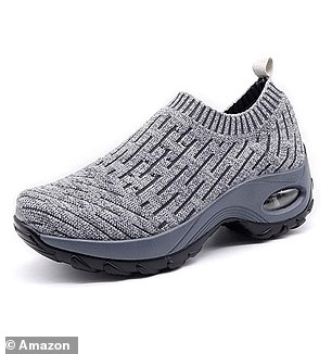 The HKR Women's Trainers Mesh Running Slip on Walking Shoes in Light Grey