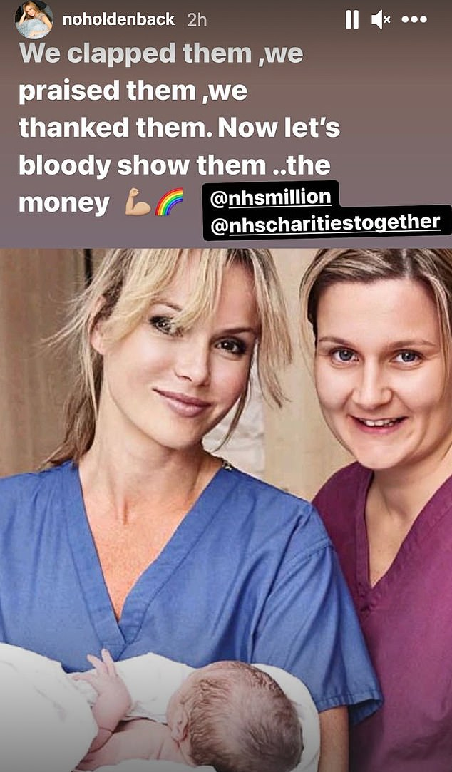 'Show them the money!' The TV and radio personality, 50, shared a series of old photographs of herself in scrubs as she shared a supportive message to frontline medical workers