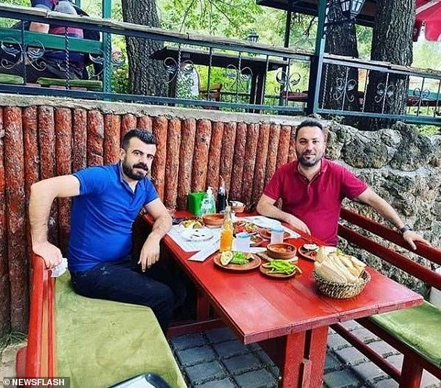 The suspect Mehmet Serif Boga (left) together with his former business partner Ilkay Tokkal, who was stabbed to death in Eskisehir, Turkey on February 15