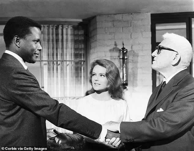 For the discussion of Guess Who's Coming to Dinner, the hosts will look at aspects of black actor Sidney Poitier's films that are oriented primarily to white audiences. Pictured, left to right: Poitier, Katharine Houghton and Spencer Tracy in the movie