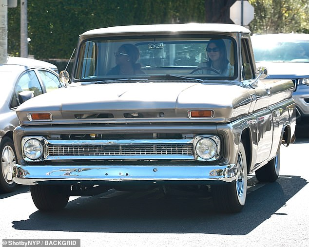Classic Wheels: Kendall was seen in her vintage Chevrolet truck with Justine in the passenger seat