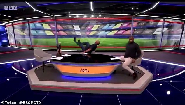 Gary Lineker, Dion Dublin and Ian Wright (left to right) poked fun at Alexandre Lacazette on Match of the Day after he went down screaming against Burnley