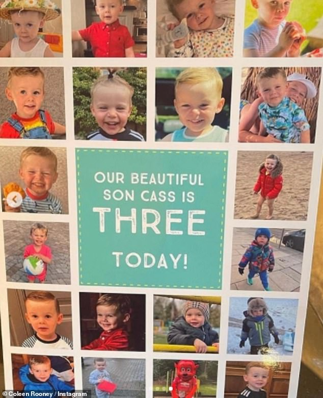 'Our beautiful son Cass is three today': Coleen also shared a picture of a personalised card, filled with several images of the tot