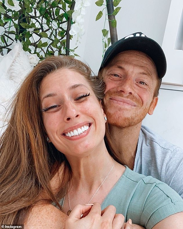 Happy couple: Stacey shares son Rex with fiancee Joe Swash, 39, who asked the question in December