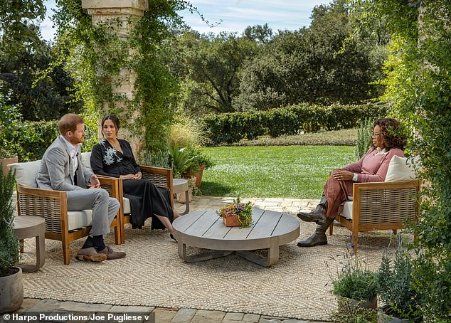 Meghan Markle and Prince Harry filmed their bombshell interview with Oprah Winfrey (pictured) at Gayle King's sprawling California mansion