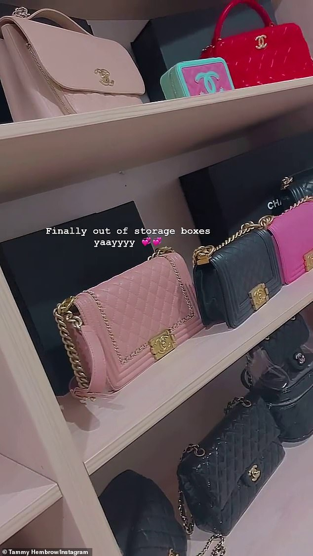 Fancy!  Sharing a video on Instagram Stories, Tammy, 26, placed the camera around her walk-in closet, which was filled with Chanel bags in every color of the rainbow.