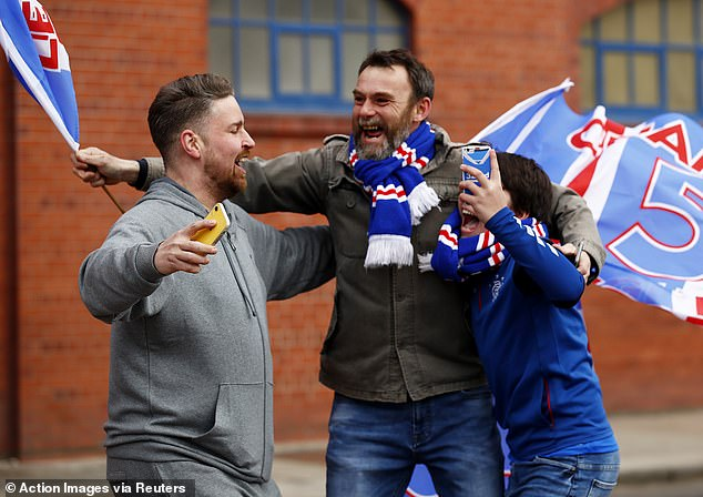 The celebrations begin in earnest outside Ibrox on Sunday afternoon as the title is confirmed