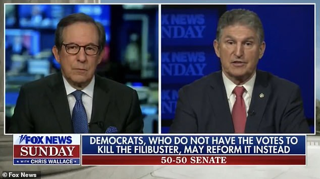 Fox News host Chris Wallace asked centrist Democrat Senator Joe Manchin if he is 'enjoying your position of power maybe a little too much' as he appeared on four shows Sunday morning after holding up the vote on the $1.9 trillion COVID relief package