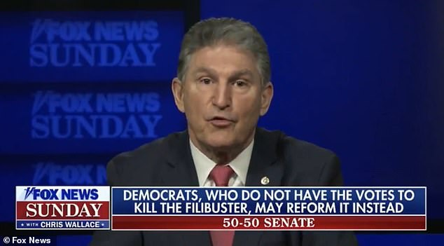 'I sure hope not,' Manchin insisted. 'Oh, my goodness. That would be horrible. That's not – no. I want to make sure people understand. I am in that common-sense middle. That's who I am'