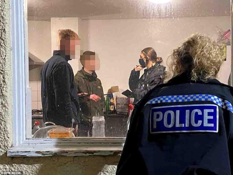 Not impressed: Two men were spoken too by a female officer at one gathering in Nottingham this weekend