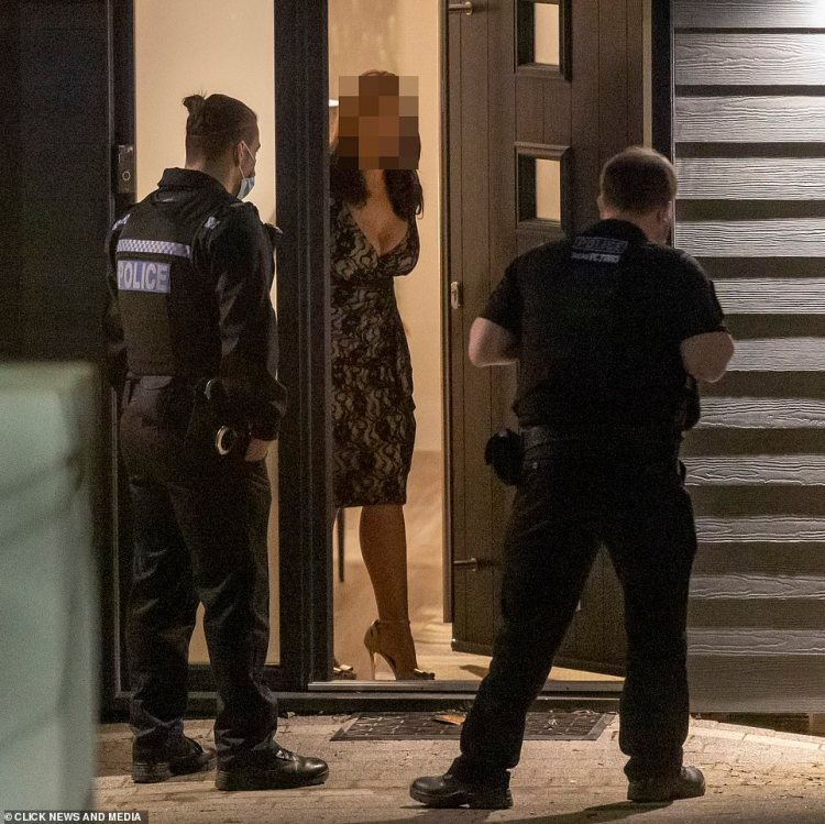 Visit: The woman who was with Megan spoke to the police alone at one point