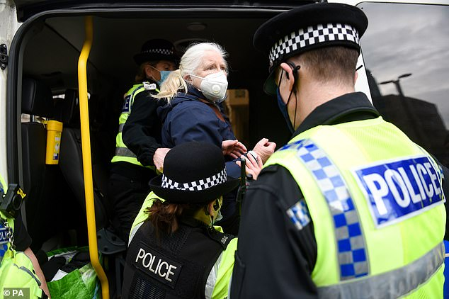 This woman, 65, later gave officers her details and was de-arrested but given a £200 fixed penalty notice, GMP said