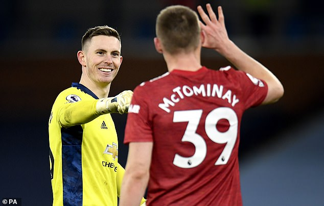 Manchester United goalkeeper Dean Henderson (left) played a vital role in his side's 2nd goal