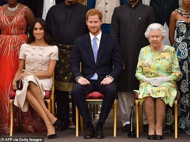 The Duke and Duchess of Sussex (pictured with the Queen in 2018) will build on their collaboration with the World Central Kitchen and their support for a Texan women's shelter in the months to come