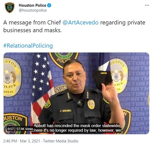 Houston Police Chief Art Acevedo issued a video statement Wednesday reminding residents that businesses have the right to enforce their own mask rules