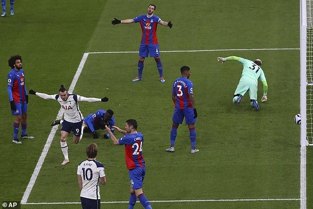 Gareth Bale wheels away after powerful close-range header put Tottenham back in front