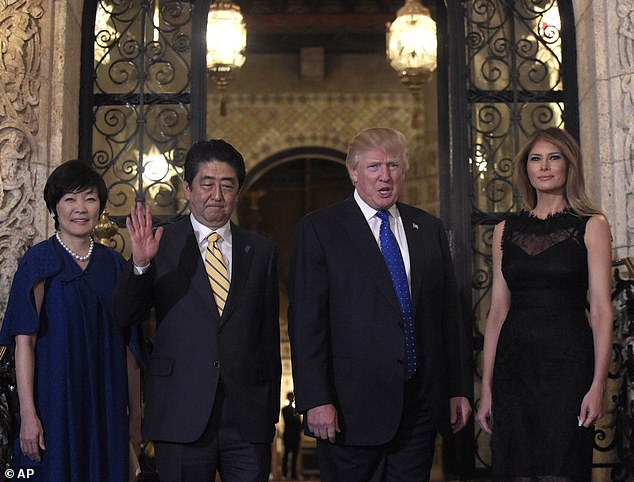 Trump hostedJapanese Prime Minister Shinzo Abe at Mar-a-Lago multiple times, including the visit seen above in February 2017