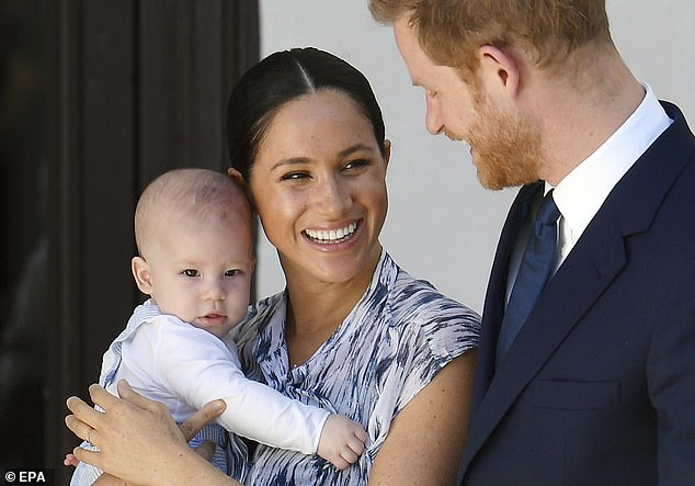 Harry said that making deals with Netflix and Spotify were 'never part of the plan' but said 'all he needed was enough money to pay for security to keep his family safe'. Pictured, with Meghan and Archie in South Africa in September 2019
