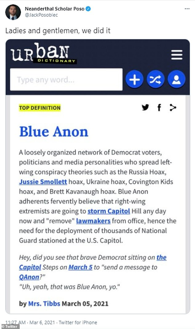 Conspiracy theorist Jack Posobiec tweeted 'we did it' after BlueAnon was added to Urban Dictionary - which has since deleted the entry