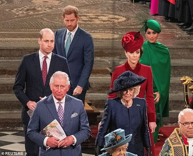 Prince Harry's 'silent pause' and 'gesture of regret' when asked about Prince Charles suggested his relationship with his father will be harder to mend than his and William's, Judi claimed (pictured at the Commonwealth Day Service in March 2020)