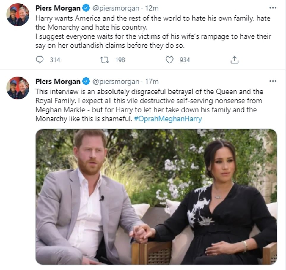 Piers Morgan branded the interview an 'absolutely disgraceful betrayal of the Queen' in a series of tweets