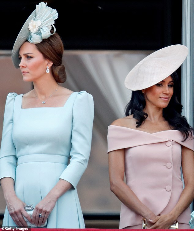 Hitting back: Meghan shut down reports that she made her sister-in-law Kate Middleton cry in the days before her wedding - insisting that the Duchess of Cambridge actually made her cry