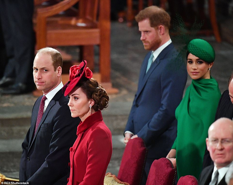 William, Kate, Harry and Meghan at the Commonwealth Day Service at Westminster Abbey in March 2020
