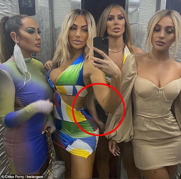 Wondering arm:It's not the first time she has been accused of photoshopping her pictures, and last month was accused of yet another fail when she posted a snap from Dubai with three friends where her arm was distorted