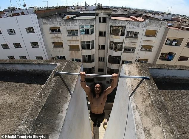 Khalid Tenni demonstrated his dizzying daily exercise regime on the rooftops above Rabat, Morocco
