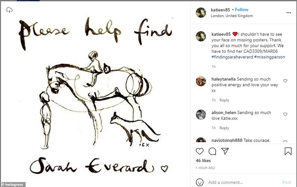 Sarah Everard's sister shared a heartfelt plea on her Instagram page as she thanked supporters who have helped so far