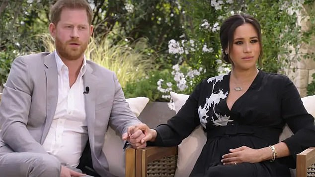 It comes after claims were made about him by the Duchess of Sussex in unaired footage from the incendiary CBS interview (pictured), released earlier today