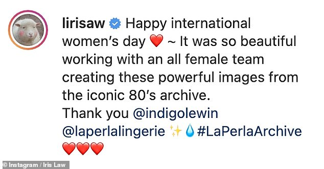 Powerful:The stunning collection was revealed on Monday to mark International Women's Day, with Iris also sharing a few images to Instagram