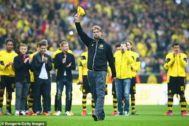 Klopp waves farewell to Dortmund fans at Signal Iduna Park back in May 2015