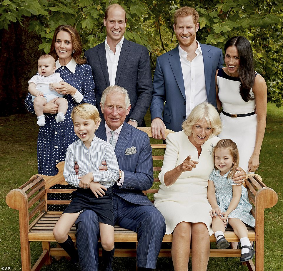The couple refused to identify the person concerned as it would be 'too damaging to them'. Pictured: Prince Charles poses for an official portrait to mark his 70th birthday in 2018 with Camilla, Duchess of Cornwall, the Duke and Duchess of Cambridge, the Duke and Duchess of Sussex, Prince George, Princess Charlotte and Prince Louis