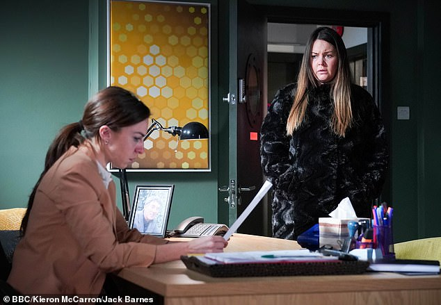 Back to work: Lacey's scenes as Stacey Slater were cut short when Trilby arrived earlier than planned, leaving some loose ends to tie up and film