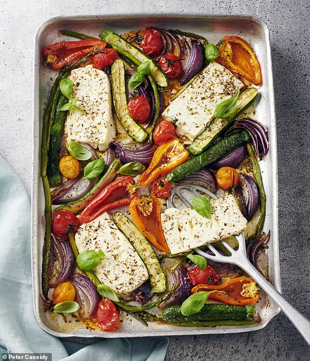 Baked feta with Mediterranean vegetables