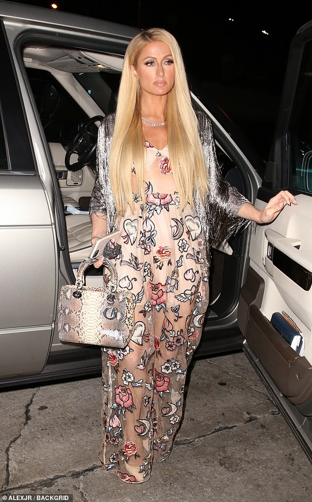 Dinner for two: Paris Hilton, 40, went out for dinner with her fiance Carter Reum in West Hollywood on Monday night