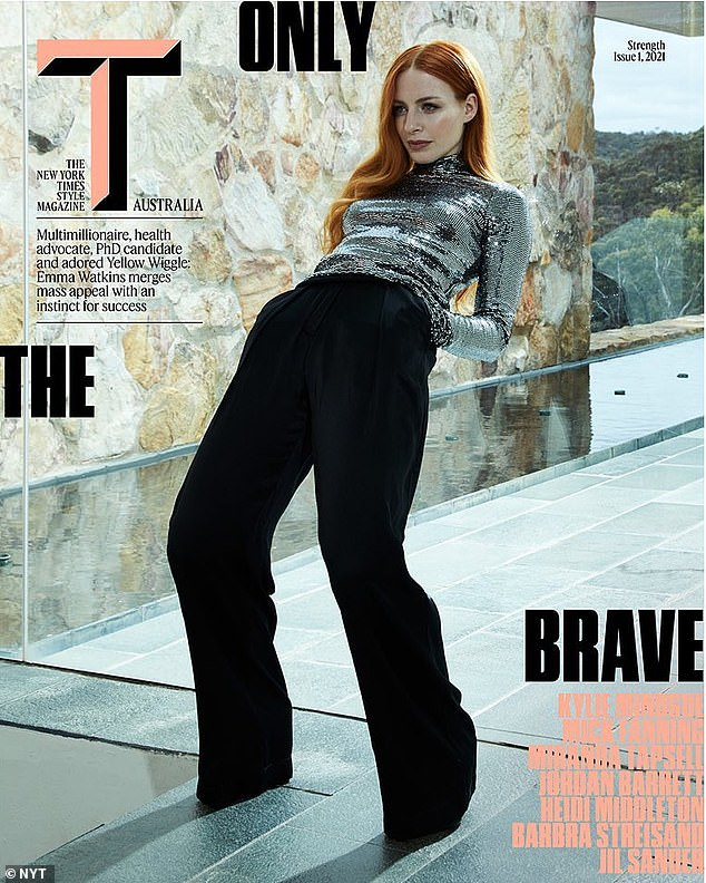 New Horizons: The Wiggles' Emma Watkins (pictured) looks almost unrecognizable in a new haute couture photoshoot for the Australian edition of the New York Times Style Magazine, T Australia
