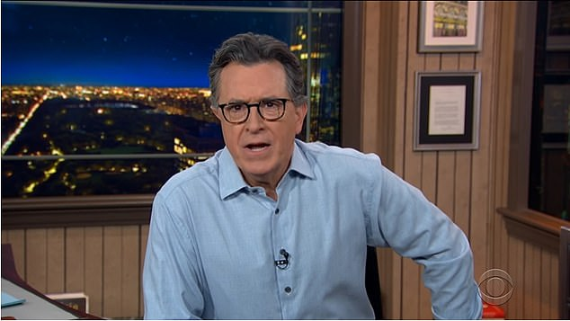 Colbert also seized upon the racism claim, saying it sounded credible. 'I'm gonna go on a limb here and say there's a possibility, just a possibility mind you, that this medieval, selective breeding program might be racist?' He said. 'Also, it's never good when the British ruling class thinks someone is too dark. They steal their land and make them play cricket.'