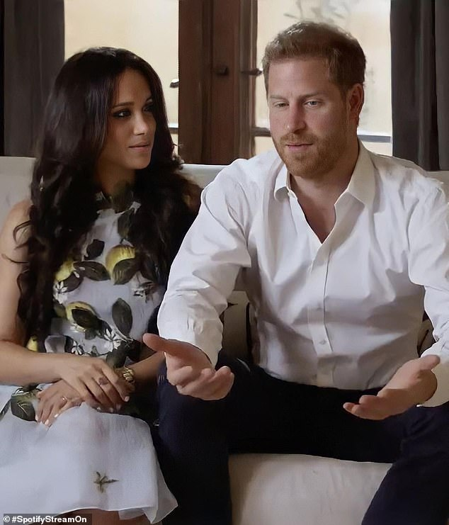 Meghan wore the same print and designer for her first appearance after quitting the royal family. Pictured: Duchess of Sussex and Prince Harry at Spotify event